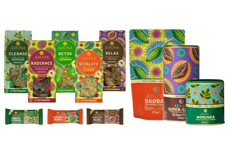 Aduna Superfood poeders, repen & thee